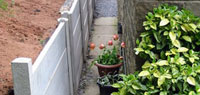 New Concrete Posts Shoring Up Bank.  Also Showing Plant Pots With Tulips In.