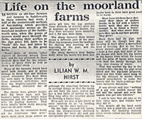 Diagram8: Life on the moorland farms newspaper clipping.