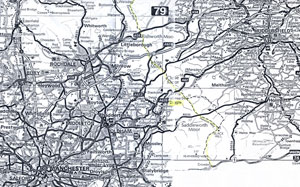 Map1: Area of study.  Diggle Valley in relation to the Lancashire/Yorkshire